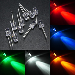 10pcs 5mm 5 Color Water Clear Round LED Diodes Assortment DIY Light 1