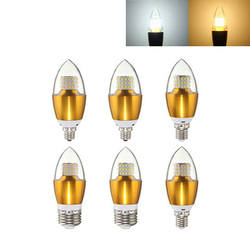 Dimmable E27 E14 E12 7W 60 SMD 3014 LED Pure White Warm White Candle Light Lamp Bulb AC110V 1