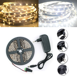 5M SMD 2835 300 LED White/Warm White LED Strip Flexible Light + Power Supply + Connector DC 12V 1