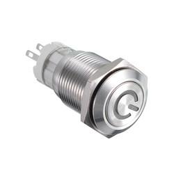 16MM 6V/12V/24V/110V/220V Waterproof Self Reset Stainless Steel Metal Button Switch With White LED Light 1