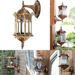 Outdoor Bronze Antique Exterior Wall Light Fixture Aluminum Glass Lantern Garden Lamp 1