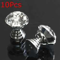 10Pcs 20mm Round Crystal Glass Cabinet Knobs Drawer Furniture Pull Handle 1