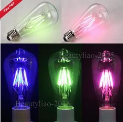 E27 Retro Edison Globe Bulbs 6W Screw LED COB Bulbs RGB Colorful Light Lamp Energy-Efficient AC220V 1