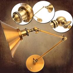 Vintage E27 Swing Arm Brass Wall Lamp Sconce Living Room Stair Restaurant Antique Light 1