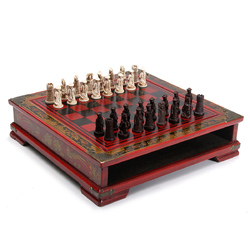 32Pcs/Set Resin Chinese Chess With Coffee Wooden Table Vintage Collectibles Gift 1