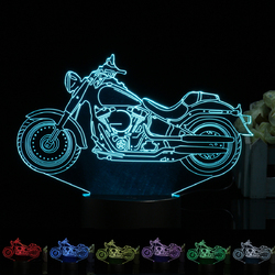 3D Illusion Motorcycle LED Desk Lamp 7 Color Change Touch Switch Night Light 1