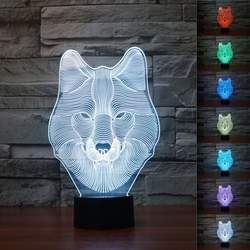 3D Animal Wolf Touch Control Table Lamp 7 Color Changing LED Night Light Home Decor 1