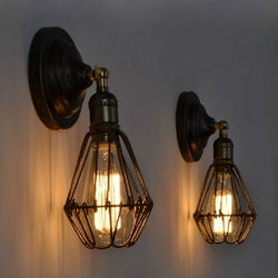 Retro Industrial Vintage Cage E27 Wall Lamp Indoor Bar Ceiling Light 1