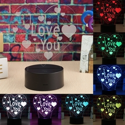 LED 3D Colorful I Love You Night Light Remote Control Touch Sensor Desktop Lamp 1