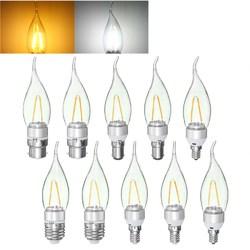 E27 E14 E12 B22 B15 2W Non-Dimmable Sliver Edison Pull Tail Incandescent Candle Light Bulb 110V 1