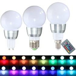 E27 E14 GU10 3W Dimmable Remote Control RGB Color Change LED Lamp Light Bulb 85-265V 1