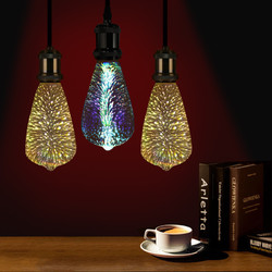 E27 4W ST64 3D Fireworks LED Retro Edison Glass Bulb Light Lamp AC85-265V 1