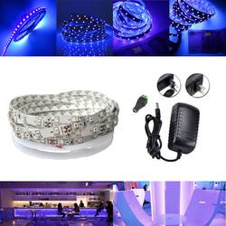 5M UV SMD2835 395-405NM Purple 300 LED Non-Waterproof Strip Light Kit + Connector + Power Supply 12V 1