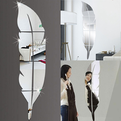 3D Mirror Vinyl Feather Wall Sticker Decal DIY Room Art Mural Removable Wall Paper Home Decor 1