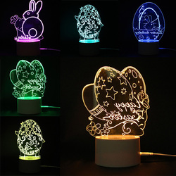 3D Illusion Easter Egg Rabbit LED Night Light USB Colorful Table Desk Lamp Holiday Decor DC5V 1
