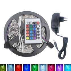 5M 3528 24W RGB 300 Non-Waterproof LED Flexible Strip Light 24 Keys IR Remote + Power Adapter DC12V 1