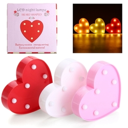 Cute 11 LED Marquee Heart Night Light Battery Lamp Baby Kids Bedroom Home Decor 1