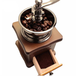 Retro Stainless Multifunction Manual Coffee Bean Grinder Wooden Nut Mill Hand Grinding Tool 1