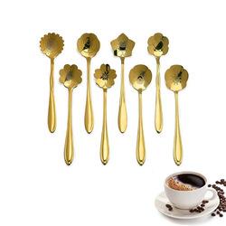 KC-FS04 Gold Flower Shape Stainless Steel Coffee Sugar Spoon Tea Spoon Ice Cream Tableware 1