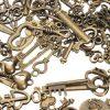125Pcs Vintage Bronze Key For Pendant Necklace Bracelet DIY Handmade Accessories Decoration 2