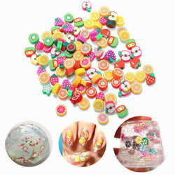 100PCS DIY Slime Accessories Decor Fruit Cake Flower Polymer Clay Toy Nail Beauty Ornament 1