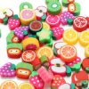 100PCS DIY Slime Accessories Decor Fruit Cake Flower Polymer Clay Toy Nail Beauty Ornament 4