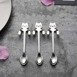 MIUK 304 Stainless Steel Coffee Spoon Creative Kitty Hook Dirtproof Coffee Tea Spoon Scoop 1
