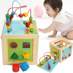 5 in 1 Kids Multi Function Colourful Wooden Activity Cube Toys Puzzle Bead Maze 1