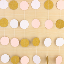 Pink White & Gold Glitter Circle Polka Dots Paper Garland Banner 10FT Banner New Decorations 1