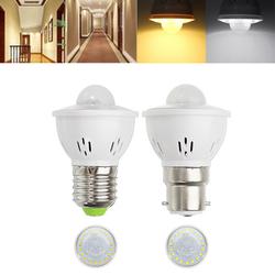 E27 B22 3W Human Body Infrared Sensor Warm White Pure White LED Light Bulb for Stairway AC220V 1