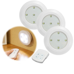 3pcs Wireless Remote Control LED Night Lights Battery Operated Stick-on Cabinet Closet Lamps 1
