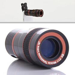 Telephoto PRO Clear Image Lens Zooms 8 times closer! For all Smart Phones & Tablets with Camera - Color: Black/Red 1
