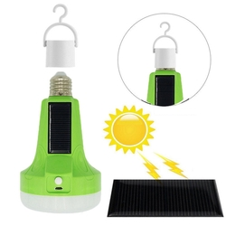E27 12W Pure White LED Solar Rechargeable Tent Camping Flashlight Emergency Lamp AC165-265V 1