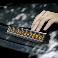 Fluorescent Black Silver Hidden Car Temporary Parking Phone Number Card Plate 1