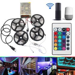 4PCS 5M Non-waterproof SMD2835 RGB Alexa APP Home Wifi Control Smart LED Strip Light Kit AC110-240V 1