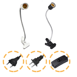 40CM E27 Flexible Pet Reptile Light Bulb Adapter Lamp Holder Socket with Clip ON OFF Switch 1