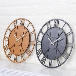 Modern Wall Clock Round Silent Movement Skeleton Roman Numeral Home Minimalist Room Clock 1