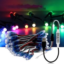 5M WS2811 RGB IP68 Full Color 50PCS Bulbs LED Pixel Module Strip Light with 3keys Controller DC5V 1