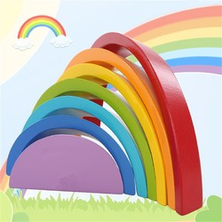 KINGSO Wooden Rainbow Toys 7Pcs Rainbow Stacker Educational Learning Toy Puzzles Colorful Building Blocks for Kids Baby Toddlers 1