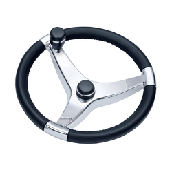 "Schmitt &amp Ongaro Evo Pro 316 Cast Stainless Steel Steering Wheel w/Control Knob - 13.5"" Diameter 1"