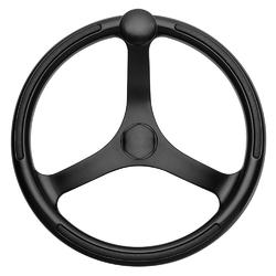 "Schmitt &amp Ongaro Primus Wheel 13.5"" Black 3/4"" Tapered Shaft w/Knob Finger Grips - Black Powder Coat 1"