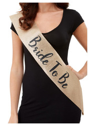 Deluxe Glitter Bride to Be Sash - Black and Gold 1