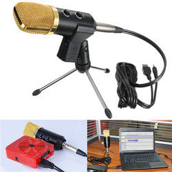 Audio Dynamic USB Condenser Sound Recording Vocal Microphone Mic With Stand Mount 1