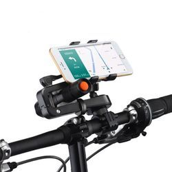 360?° Rotation 2in1 Bicycle Cell Phone Holder Multifunctions Flashlight Holder Phone Clip 1