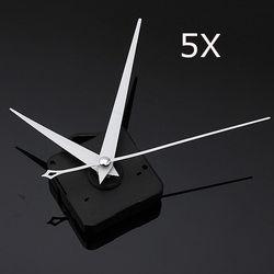 5Pcs DIY White Triangle Hands Quartz Black Wall Clock Movement Mechanism 1