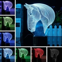 3D Art Horse Head 7 Color Changing Bulding LED Night Lamp Light Bedroom Xmas Gift 1