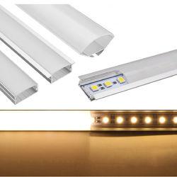50CM U/YW/V Shape Aluminum Channel Holder For Bar Under Cabinet LED Rigid Strip Light Lamp 1