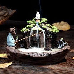 Ceramic Backflow Incense Burner Holder Mountain Stream Fragrant Cone Censer Home Furnace Decor 1