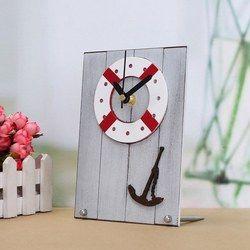 European Mediterranean Style Clock Table Desktop Clock Wood For Gift Room Decor 1