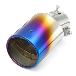 63mm Inlet Car Exhaust Muffler Tip Pipe Stainless Steel Chrome Grilled Blue 1